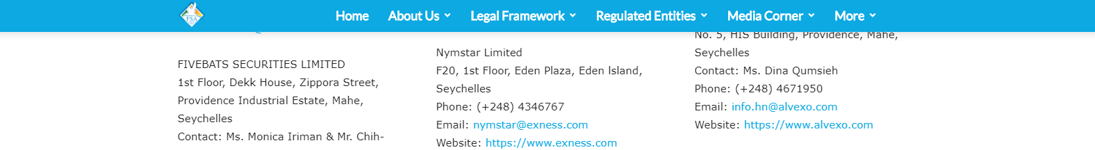 Exness FSA Regulation screenshot