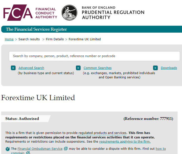 FXTM is regulated with FCA