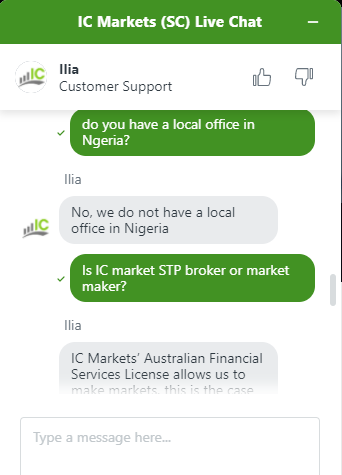 We found IC Markets's chat support to be good