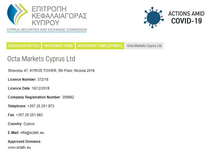 OctaFX CySEC regulation