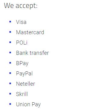 Pepperstone Payment Methods